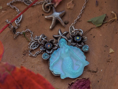 """Under the Sea"" Glass Mermaid Flower Pendant"
