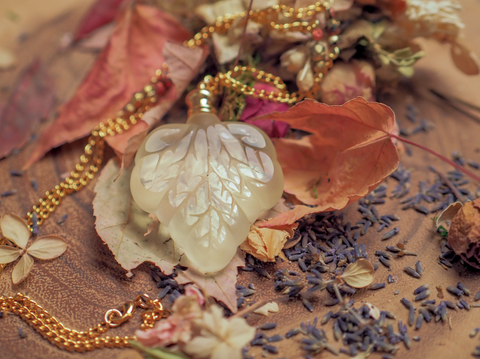 Autumn Luster Elven Leaf Pendant™ by Deep Midnight Perfumes