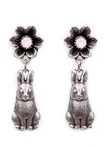 Flower and Bunny Dangle Earrings