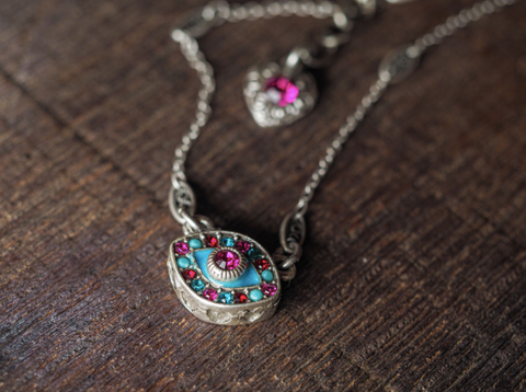 Red and Turquoise Evil Eye Necklace