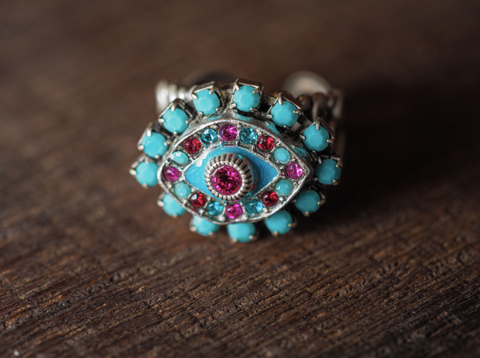 Red and Turquoise Evil Eye Ring