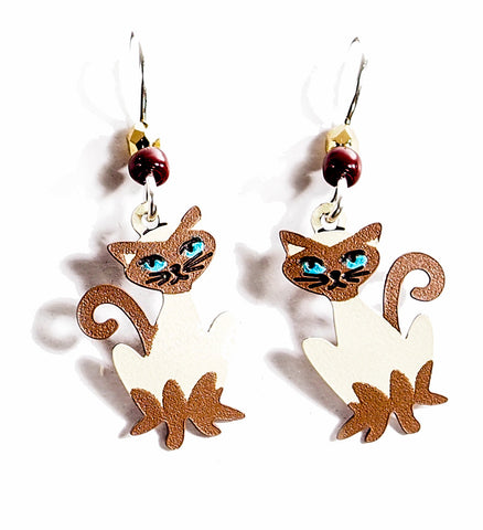 Siamese - if you please! Hand Painted Copper Earrings