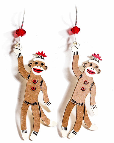 Whimsical Sock Monkey Earrings