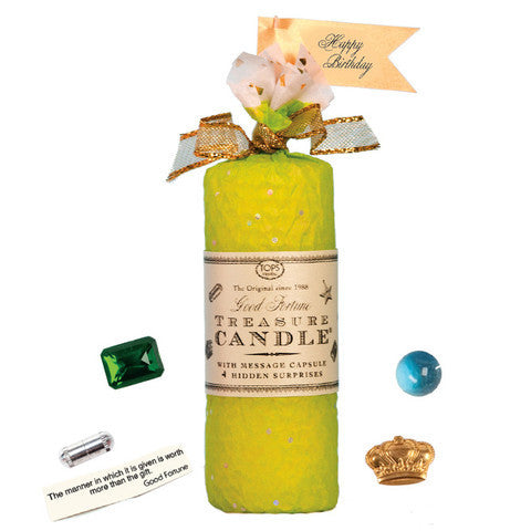 "Treasure Candle - 4"" All Occasion in Lime Green"