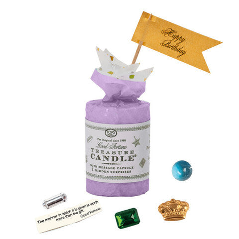 "Treasure Candle - 2"" Birthday With Prizes Inside - Lavendar"
