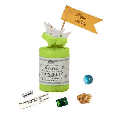 "Treasure Candle - 2"" Birthday - Two Prizes Inside -- Green"