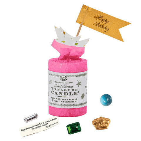 "Treasure Candle - 2"" Birthday - Two Prizes Inside - Magenta"