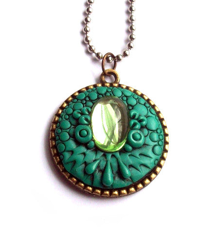 Teal Dragon Pendant with Peridot Cabochon