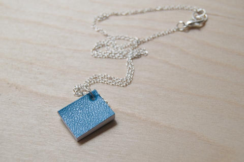 Tiny Journal Necklace -- Blue