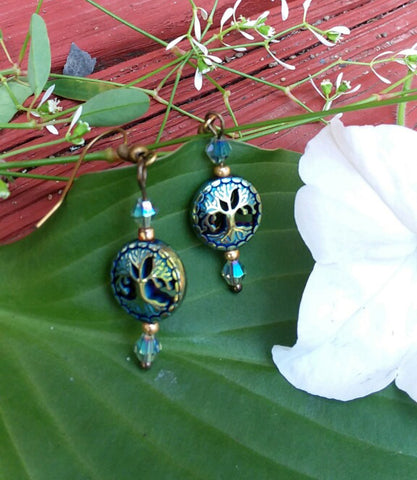 Tree of Life Hematite Earrings