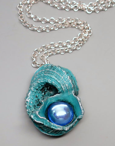 Turquoise Shell Pendant with Gem