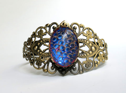 Filigree Cuff Bracelets with Blue Dragon Scale Gem