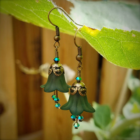 Forest Green Woodland Nymph Flower Earrings