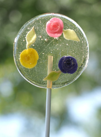 Multi-colored marzipan Roses Lollipop (One)