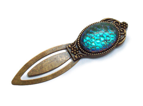 Bookmark with Aqua Dragon Scale Cabochon