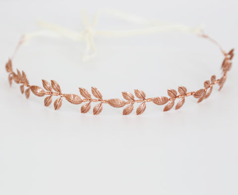 Athena Crown -  Rose Gold, Bridal or Special Occasion Tie Headband