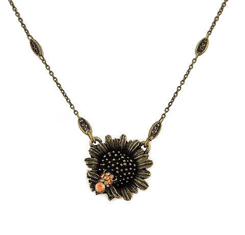 Sunflower with Little Bee Necklace