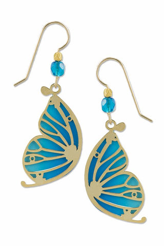 Blue Butterfly Wing with GP Overlay Earrings