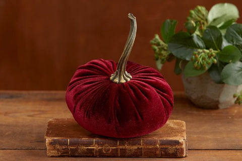 SHIPPING 9/10: Burgundy Velvet Pumpkin