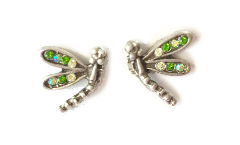 Green Dragonfly Stud Earrings