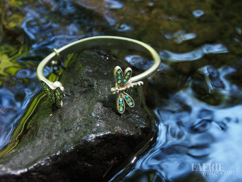 Butterfly and Dragonfly Open Bracelet -- Turquoise