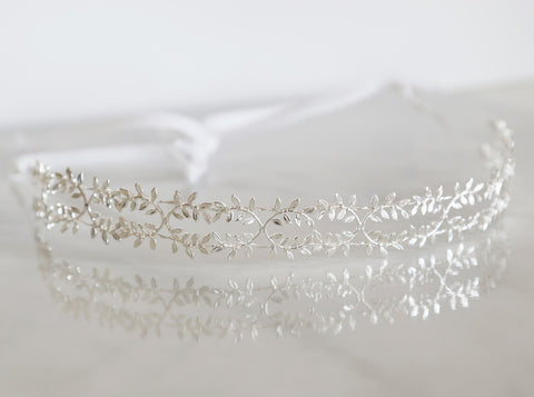 Delicate Silver Fern Leaf Crown - Tie Headband, Crown