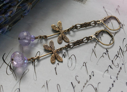 Lavender Dragonfly Earrings by Vintage Angel