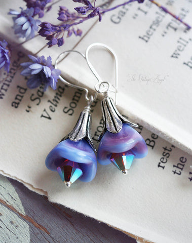 Morning Dew Glass Bell Flower Earrings