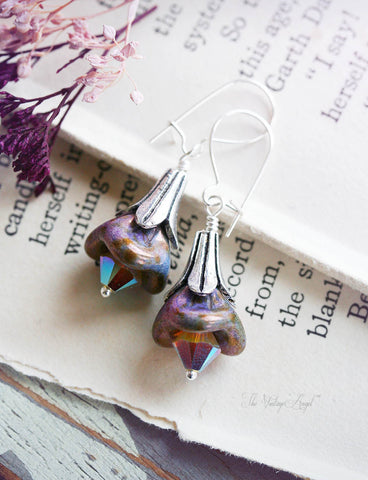 Pixie Dust Glass Bell Flower Earrings