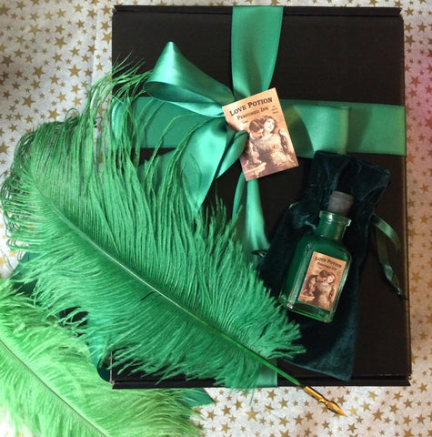 Green Plume & Green Perfumed Ink -- LOVE POTION