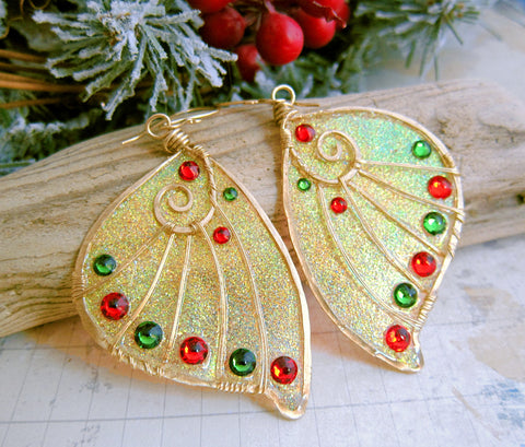 Sihaya Designs Faery Wing Earrings - Gold Sparkle