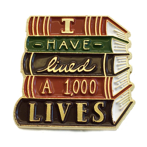 """I Have Lived A Thousand Lives"" Book Enamel Pin in Gold"