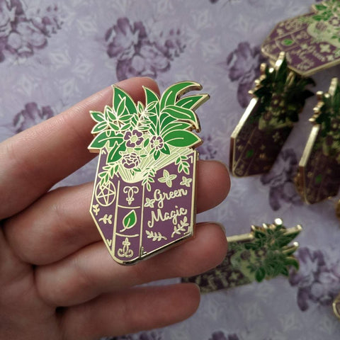 Green Magic Spell Book enamel pin