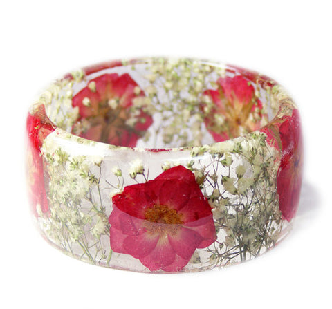Pressed Red Rose Resin Bracelet