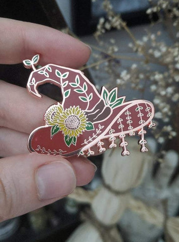 Sunflower Witch Hat enamel pin