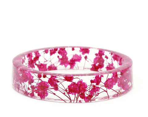 Bright Pink Flower Resin Bracelet