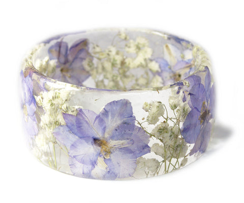 Soft Purple Flower Resin Bracelet