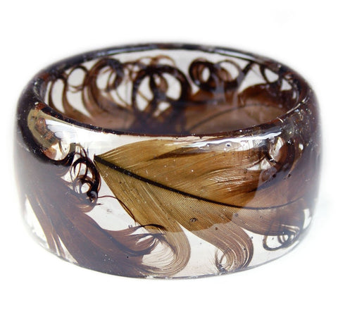Curly Feather Resin Bracelet