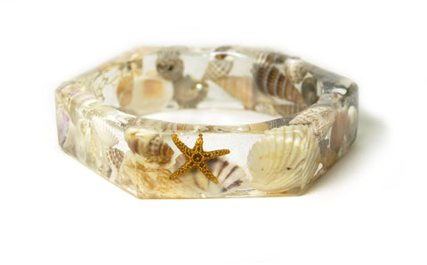 Angled Seashell Resin Bracelet