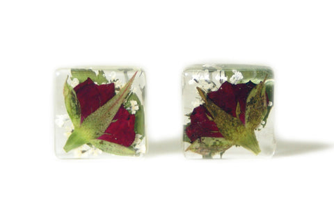 Red Rose Resin Earrings