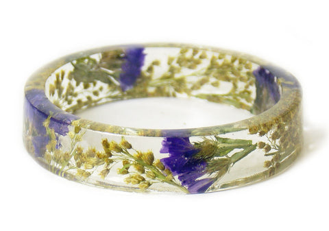 Whimsical Purple and Yellow Flower Resin Bracelet