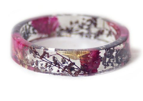 Pink Flower and Brown Foliage Resin Bracelet