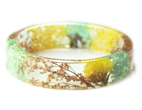 Mint Green and Yellow Flower Resin Bracelet
