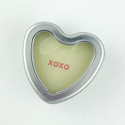 XOXO heart candle tin
