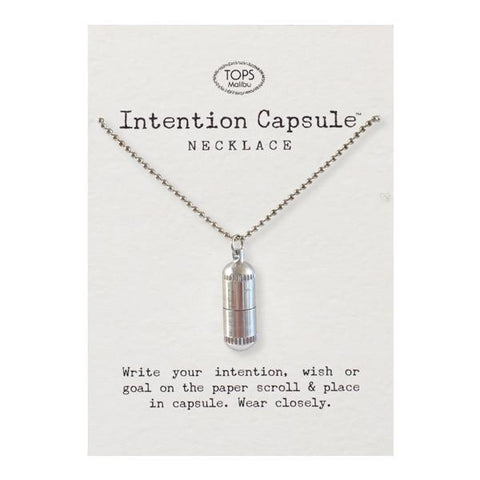Intention Capsule -- Silver on Ball Chain Necklace