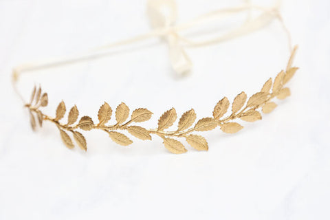 Large Leaves Brass Gold Leaf Crown