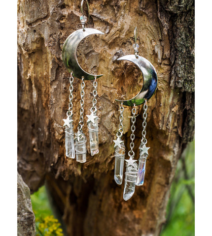 La Lune - Moon & Stars Earrings with Quartz Points
