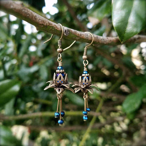Serenity Blue Lotus Earrings
