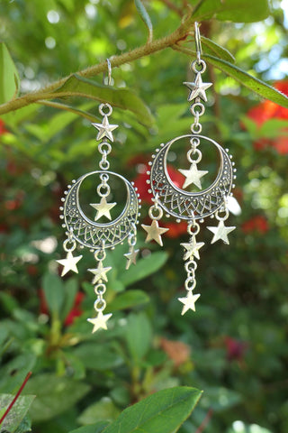 Silver Moon and Stars Dangle Earrings