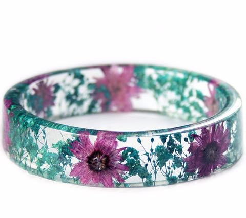 Purple Daisy Turquoise Flower Resin Bracelet